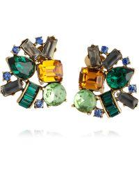 Oscar de la Renta Gold-Plated Crystal Clip Earrings - Lyst