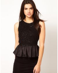 ASOS Collection Asos Peplum Top with Embellishment - Lyst