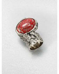Saint Laurent Antique-Inspired Silvertone Arty Ovale Ring - Lyst