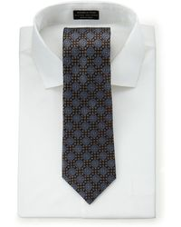 Hickey Freeman - Neat Check Silk Tie Brown - Lyst