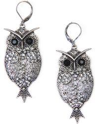 Mango Owl Earrings gold - Lyst