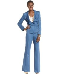 Anne Klein - Ruffled Belted Jacket Wideleg Pant Suit  - Lyst