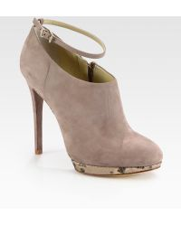 B Brian Atwood Snakeprint Metallic Leather and Suede Ankle Boots - Lyst
