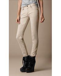 Burberry Brit Press Stud Cotton Jeans - Natural