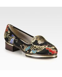 Jason Wu Brocade and Metallic Leather Stacked Loafers - Lyst