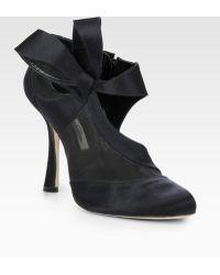 Oscar de la Renta Satin and Mesh Bow Ankle Boots - Lyst