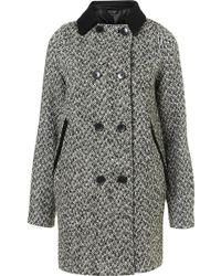 Topshop Contrast Tweed Boyfriend Coat - Lyst