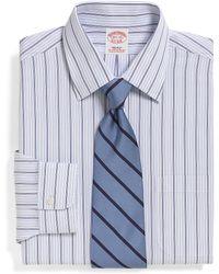 Brooks Brothers Supima Cotton Noniron Regular Fit Alternating Triple Stripe Dress Shirt - Lyst