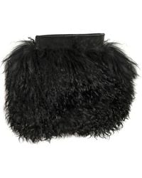 Gareth Pugh Leather Mongolia Fur Clutch - Black
