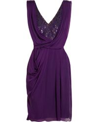 Matthew Williamson Embellished Lace and Draped Silk Chiffon Dress - Lyst