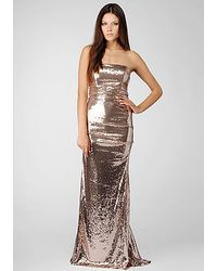 Nicole Miller Strapless All Over Sequin Gown - Lyst