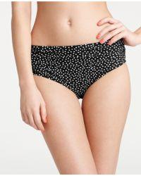 Ann Taylor Polka Dot Shirred High Waisted Bikini Bottom - Black