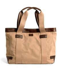 Brooks Brothers Washed Canvas and Leather Tote - Natural