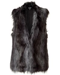 DKNY Flannel Faux Fur Vest - Lyst