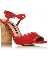 French Connection Tibet Block Heel Sandals - Red