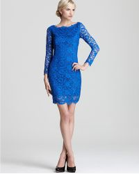 Madison Marcus Short Dress Long Sleeve Lace with Deep V Back - Lyst