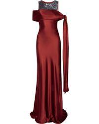 Amanda Wakeley Tie Shoulder Sequined Silk Satin Gown - Lyst