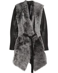 Aminaka Wilmont Leather Sleeved Shearling Wrap Coat - Lyst