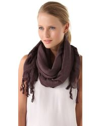 Love Quotes Knotted Tassel Linen Scarf - Charcoal - Lyst