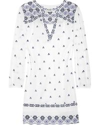 Alice By Temperley Armonia Embroidered Cotton Voile Dress blue - Lyst