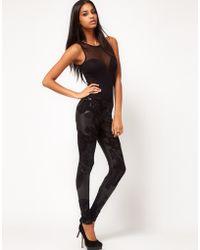 ASOS Collection Asos Leggings in Rubber Floral Print black - Lyst