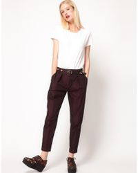 ASOS Collection Asos Satin Peg Trousers with Front Pleat - Lyst