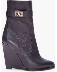 Givenchy Black Calfhigh Sharklock Wedges - Lyst