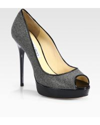 Jimmy Choo Crown Flannel and Patent Leather Platform Pumps - Lyst