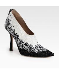 Oscar de la Renta Sequin Covered Satin Ankle Boots - Lyst