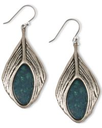 Lucky Brand Silver Tone Semiprecious Turquoise Feather Drop Earrings - Lyst
