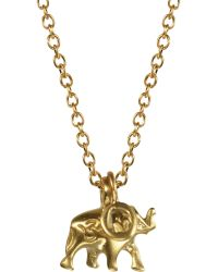 Me&Ro - Gold Elephant Flat Diamond Charm - Lyst