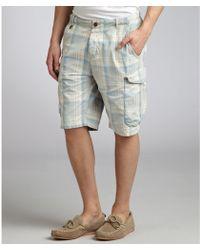 Scotch & Soda Ivory Plaid Cotton Cargo Shorts - Lyst