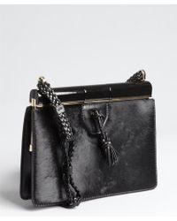 Tom Ford Black Pony Hair And Leather Frame Top Shoulder Bag black - Lyst
