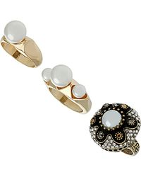 TOPSHOP - Pearl 3 Pack Ring Set - Lyst