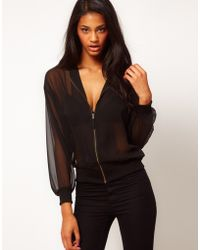 ASOS Collection Sheer Bomber Jacket - Lyst