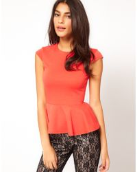 ASOS Collection Top with Peplum in Ponti - Lyst