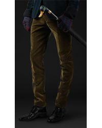 Burberry Prorsum Skinny Fit Cotton Velvet Trousers - Lyst