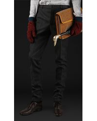 Burberry Prorsum Skinny Fit Hopsack Wool Trousers - Lyst