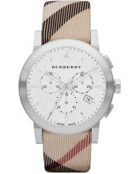 Burberry Womens Swiss Chronograph Nova Check Fabric Strap 42mm - Lyst