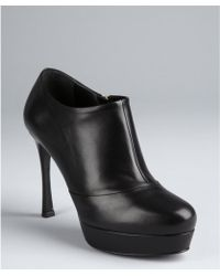 Saint Laurent Black Leather Gisele Platform Ankle Boots - Lyst