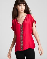 Parker Top Cold Shoulder with Beading - Lyst