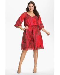 Adrianna Papell Chiffon Gather Sleeve Dress - Lyst
