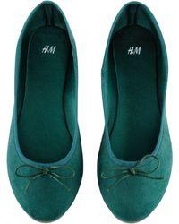 H&M Green Ballet Pumps - Lyst