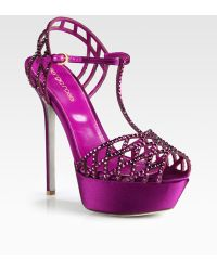 Sergio Rossi Satin Crystal Coated T-Strap Sandals - Lyst