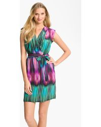 Presley Skye April Print Surplice Silk Crêpe De Chine Dress - Lyst