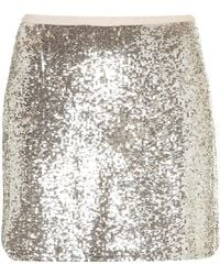 Topshop Silver Sequin Mini Skirt silver - Lyst
