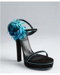 Gucci Black And Aqua Suede Flower Platform Sandals - Lyst