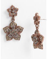 Cara Accessories Double Flower Drop Earrings - Lyst