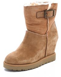 Ash Youri Shearling Wedge Boots - Brown