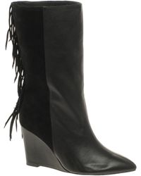Asos Asos Charlie Leather Wedge Boots with Fringe Detail - Lyst